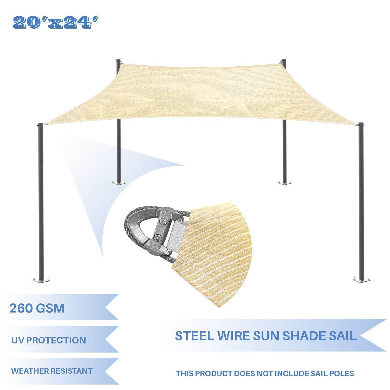 E&K Sunrise Reinforcement Large Sun Shade Sail 20' x 24' Rectangle Heavy Duty Strengthen Durable Outdoor Garden Canopy UV Block Fabric (260GSM)- 7 Year Warranty - Light Gray