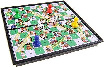 Quantum Abacus Juego de Mesa magnético (versión Super Mini de Viaje): Serpientes y Escaleras - Piezas magnéticas, Tablero Plegable, 13cm x 13cm x 1, 2cm, Mod. SC5230 (DE): Amazon.es: Juguetes y juegos