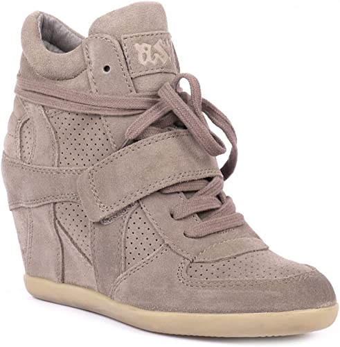 Ash BOWIE stone suede high-top wedge