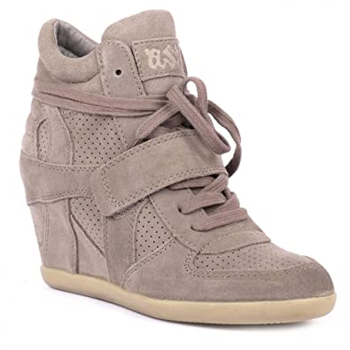 175da8258052 Ash BOWIE stone suede high-top wedge trainers Stone 39  Amazon.co.uk ...