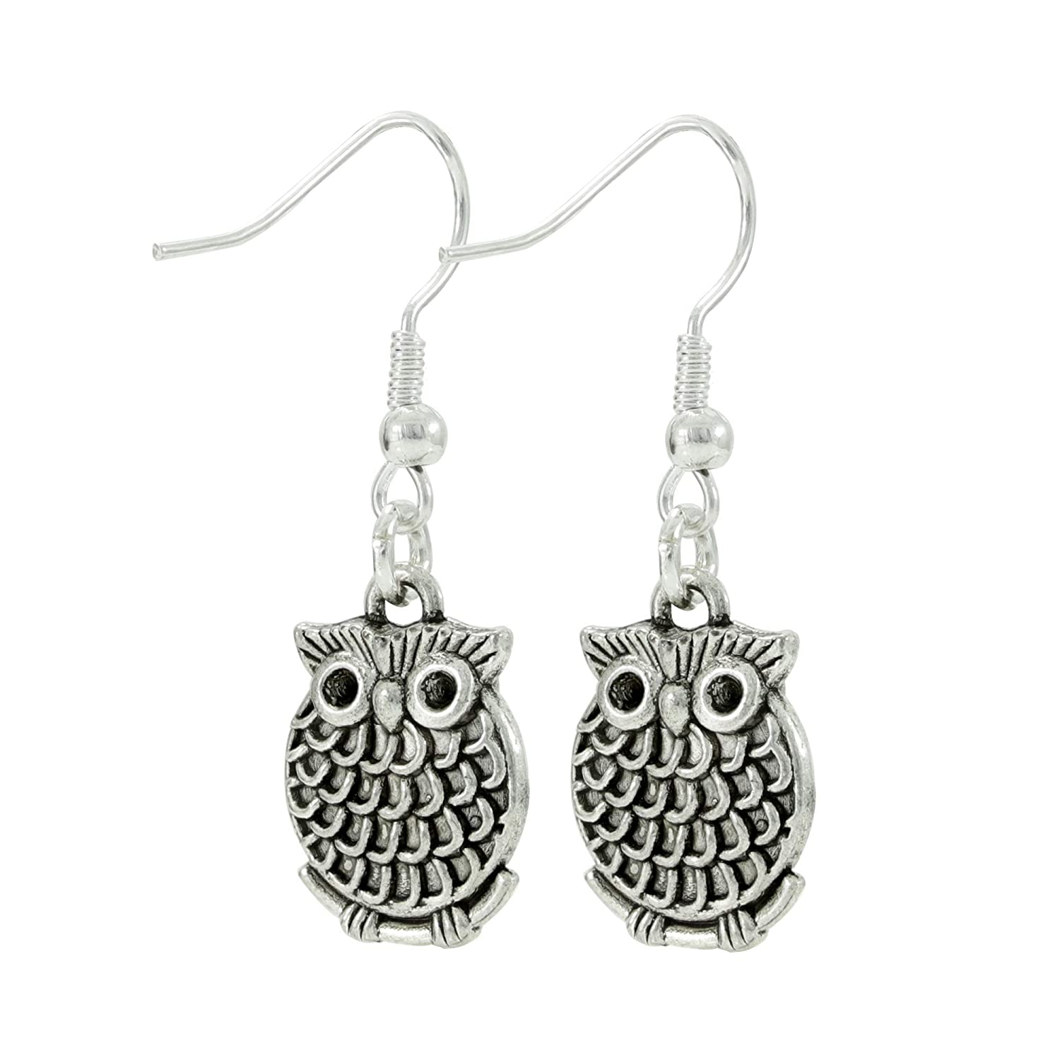 Owl Dangle Earrings, Small Silver Tone Bird Jewelry, Handmade Women's Earring Set