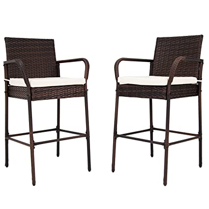 Kinbor Set Of 2 Patio Outdoor Wicker Barstool Set Pool Furniture High Chair  Brown W/