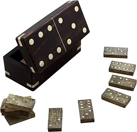 Double Six Dominoes in Wooden Box Fun Family Kids Adults Traditional Board Game