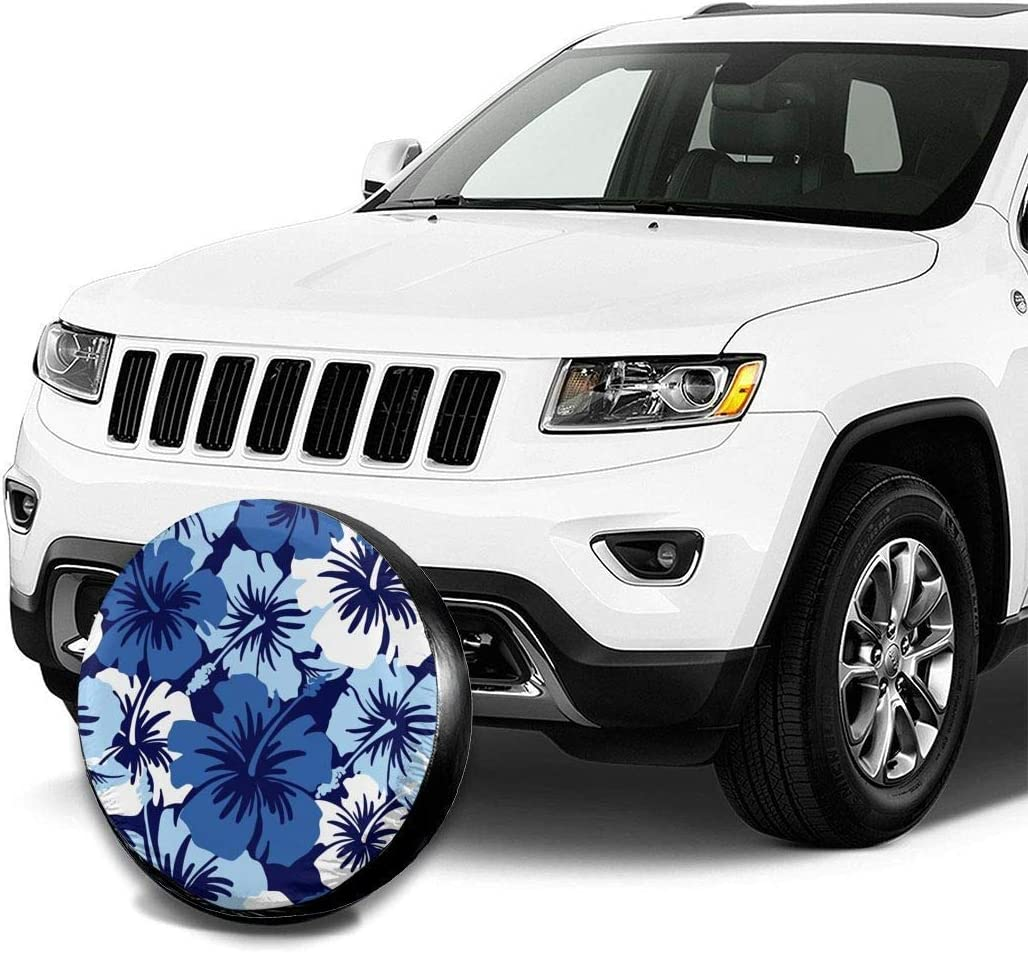 ADGoods Spare Tire Cover Blue Hibiscus Dust-Proof Wheel Tire Covers for 14 15 16 17 Tires