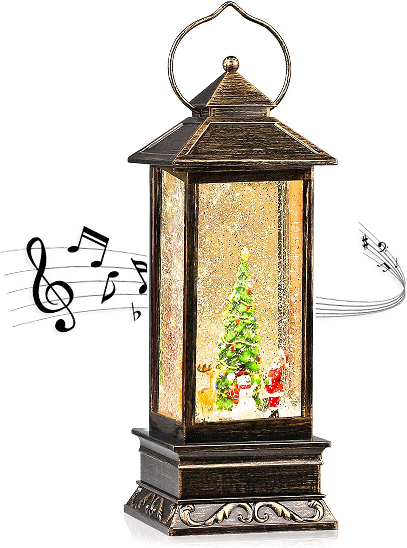 CaiFang Christmas Snow Globe Lantern 6H Timer Musical Lanterns Lighted Water Glittering Santa Lantern Kids Toy Snow Globes for Home Decor &Christmas Gift