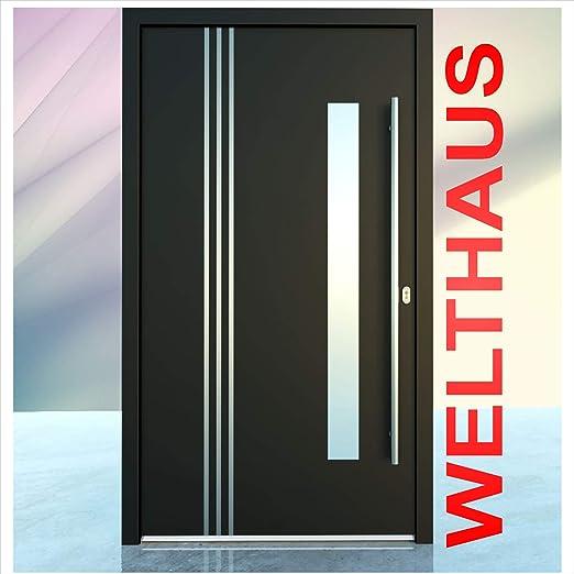 Haust/ür Welthaus WH75 Standard Aluminium mit Kunststoff NY2010 Amsterdam T/ür 1000x2000mm DIN Links Farbe aussen anthrazit Innen wei/ß au/ßengriff BGR1400 innendrucker M45 Zylinder 5 Schl/ü/ßel