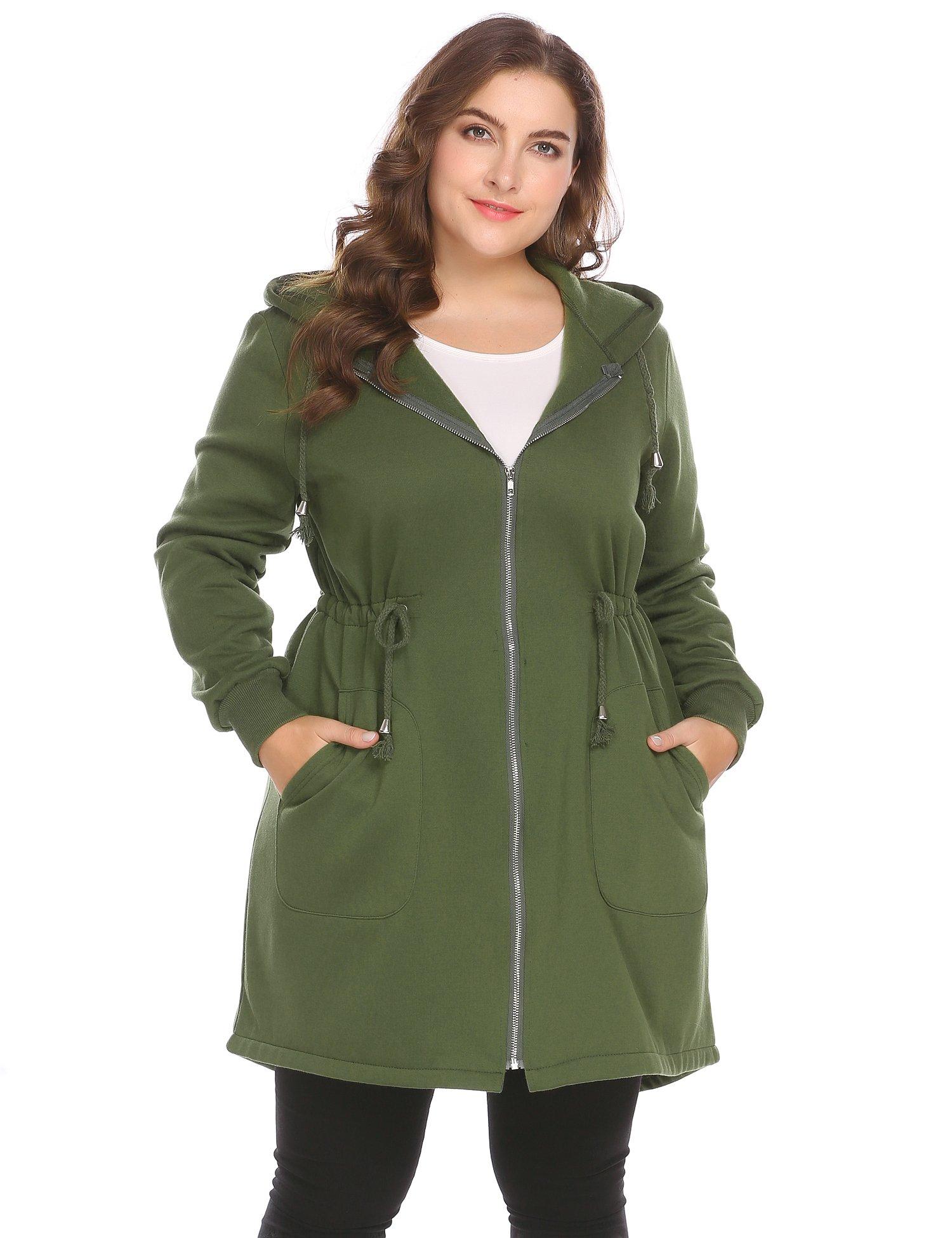 Zeagoo Women's Plus Size Casual Zip up Fleece Hoodies Long Tunic Hooded Sweatshirt Jacket Coat Outerwear With Pockets, Olive Green, 18