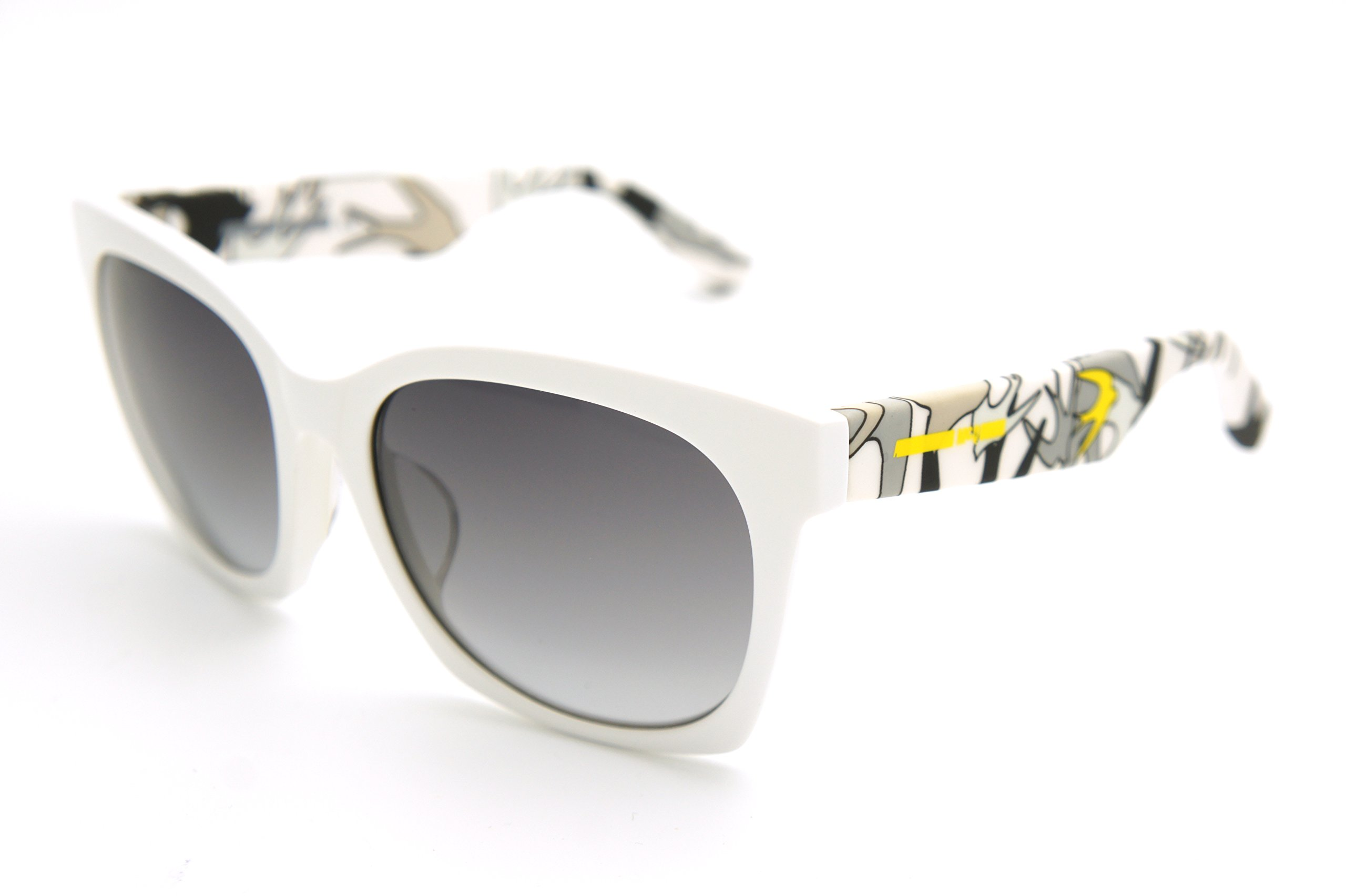 McQ - Alexander McQueen Sunglasses fit bridge 0017SA 0017 MQ0017SA (shiny white / smoke lens, one color) by MCQ