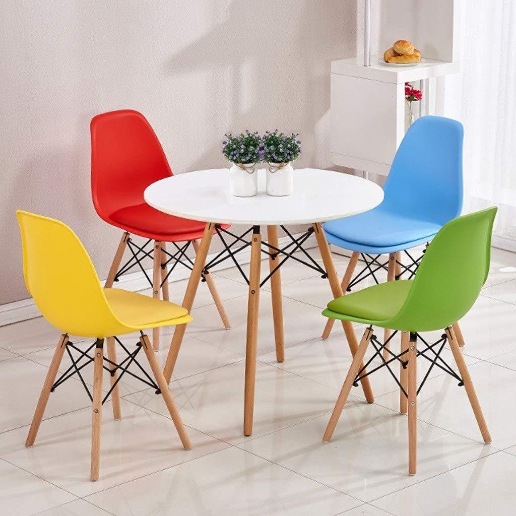 HEJINXL Modern minimalistisk matstolar ryggstöd plast med mjuk kudde naturligt massivt trä ben nordisk grön kök vila köksstolar pallar set med 2 (färg: A) G