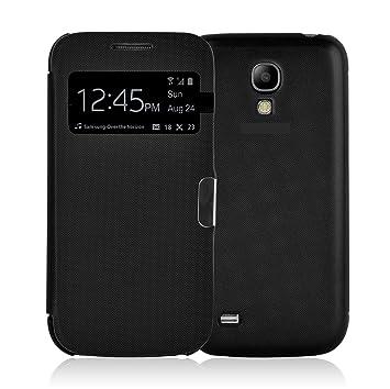 JAMMYLIZARD Carcasa Galaxy S4 Funda Flip Cover con Ventana de Apertura para Samsung Galaxy S4, Negro