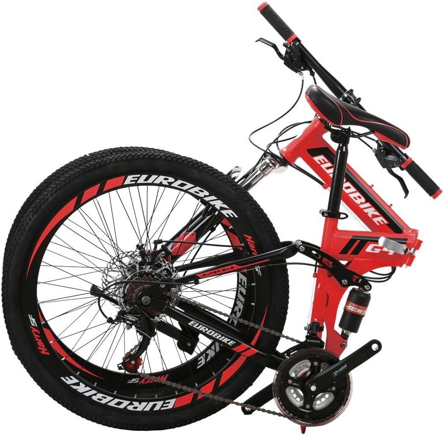 Eurobike EURG4 Mountain Bike 21 Speed 26 Inches Dual Suspension Folding Bike Dual Disc Brake MTB Bicycle Blue
