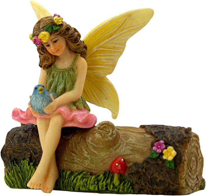PRETMANNS Fairy Garden Fairies Accessories – Outdoor Fairy Figurine for a Miniature Garden – Sitting Fairy with a Blue Bird on a Flower Decorated Resin Tree Stump – Fairy Garden Supplies – 2 Pieces