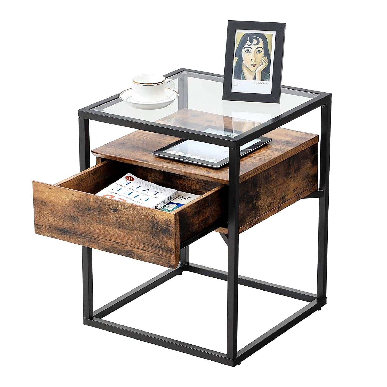VASAGLE Industrial Side Table, Tempered Glass End Table, with Drawer and Rustic Shelf, Decoration in Living Room, Lounge, Foyer, Stable Iron Frame ULET04BX