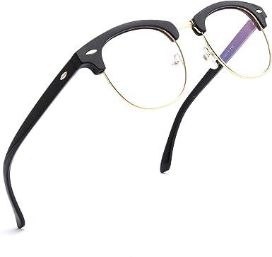 TIJN Blue Light Blocking Eyeglasses Semi Rimless TR90 Eyewear Frame Computer Glasses