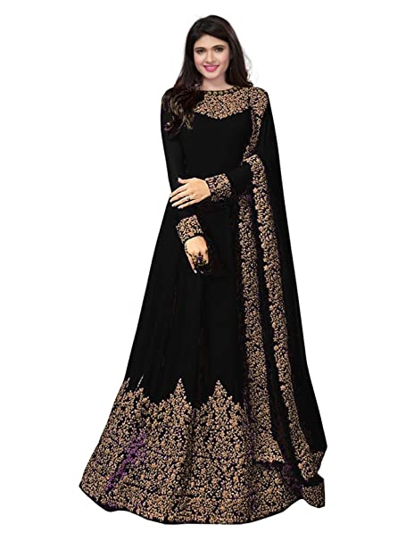 Royal Export Women s Georgette A-line Long Party Wear Semi-Stitched Dress  Material ( 4e135b746