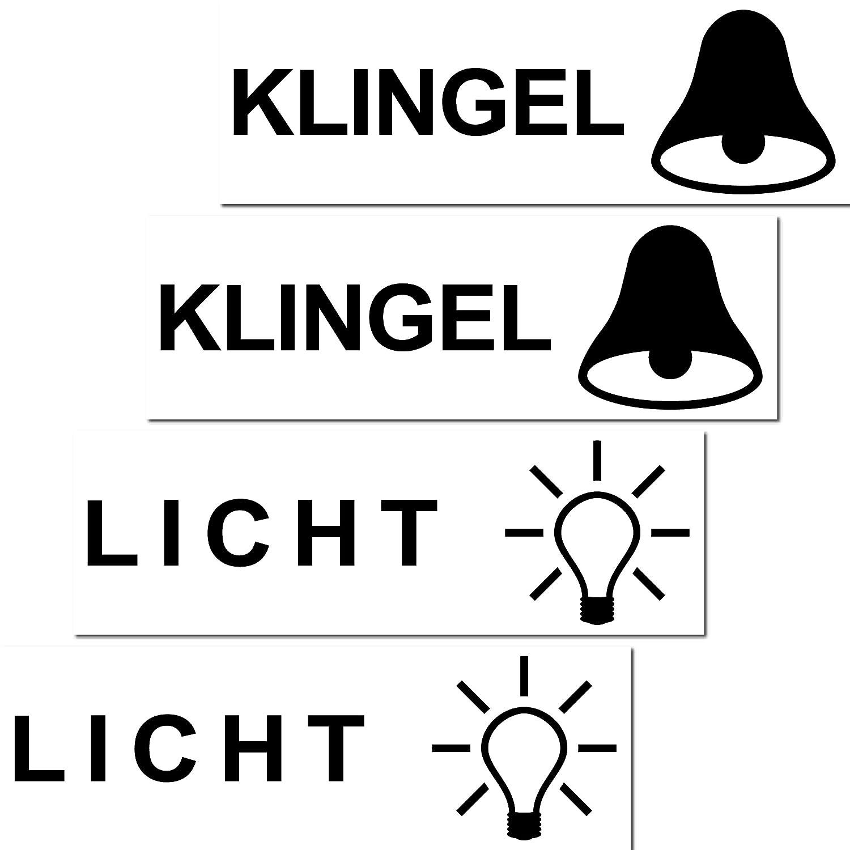 GreenIT 4 Stück Aufkleber Sticker Licht Klingel Briefkasten Schalter ...