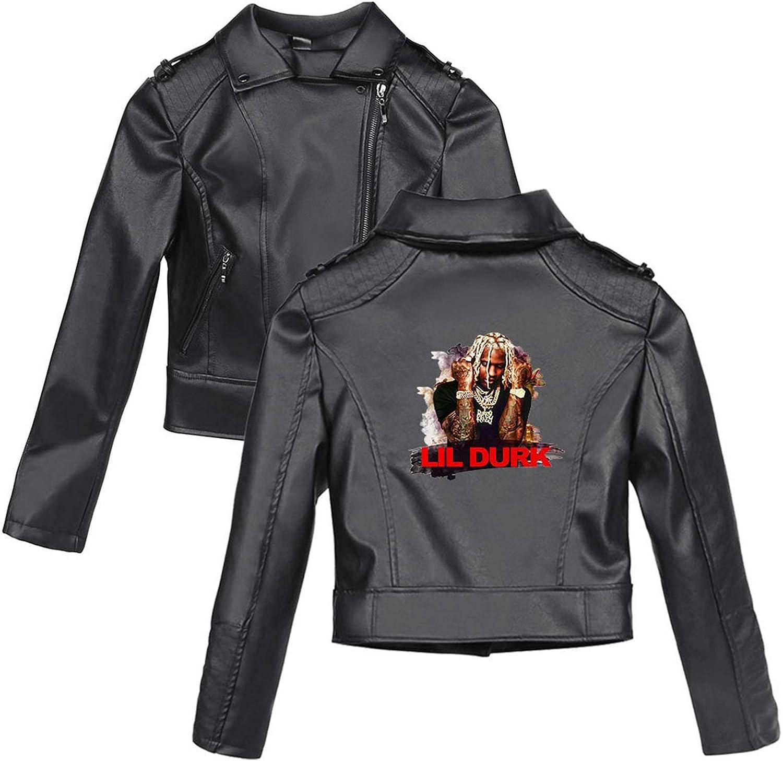Chaqueta Cuero Mujer Lil Durk Zipper Chaqueta De Motociclista Jacket Corta para OtoñO Primavera Damas