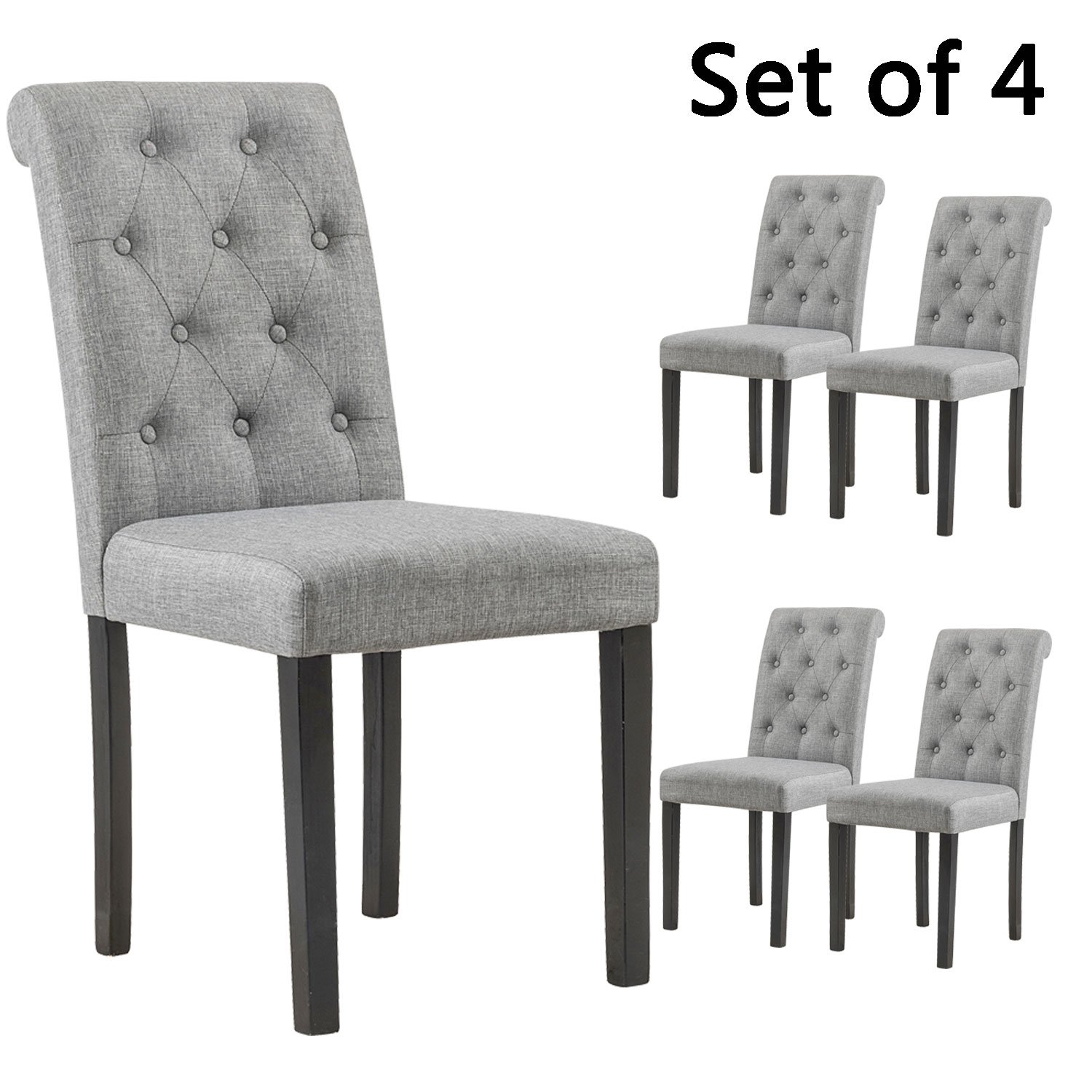 YEEFY Habit Solid Wood Tufted Parsons Dining Chair (Set of 4) (Gray) by YEEFY