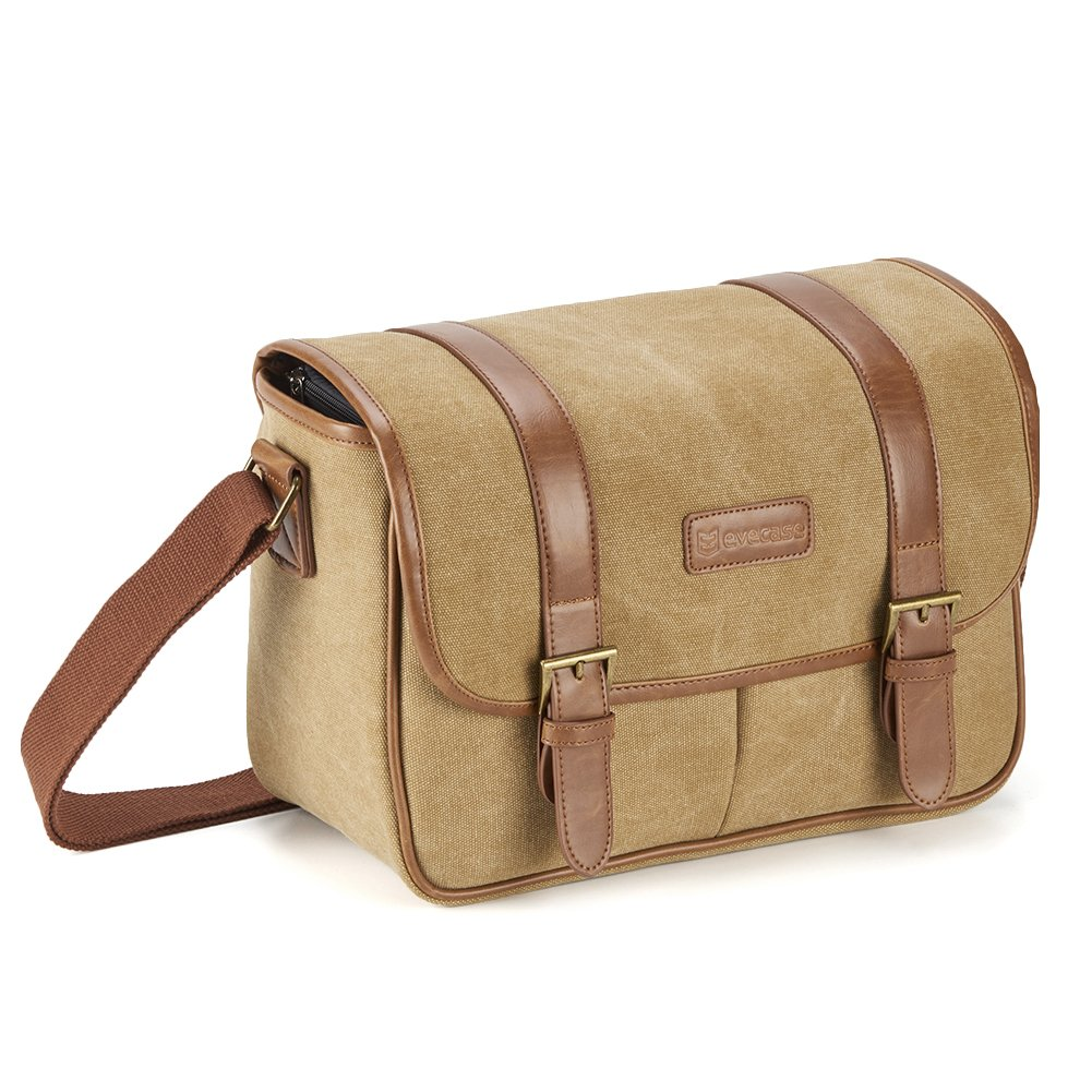 Classic Camera Bag, Evecase Large Canvas Messenger SLR/DSLR Shoulder Case with Leather Trim, Tablet Compartment and Removable Insert For Mirrorless, Micro 4/3, Compact System, High Zoom Digital Camera 885157978316