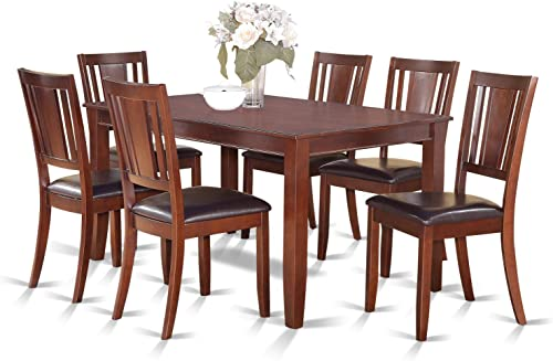 DULE7-MAH-LC 7 Pc Dining room set-Dinette Table and 6 Kitchen Dining Chairs