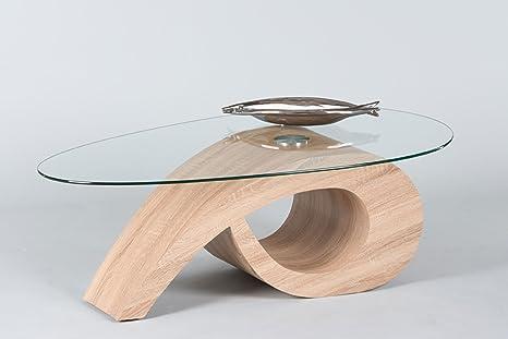 lifestyle4living Couchtisch ist oval und aus Glas | Sofa-Tisch in Sonama  Eiche Dekor hat eine Moderne Form | Wohnzimmertisch mit zusätzlicher ...