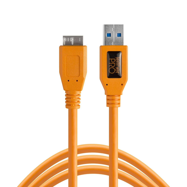 TetherPro USB 3.0 SuperSpeed Micro B Cable, 15 pies, naranja de alta visibilidad: Amazon.es: Electrónica