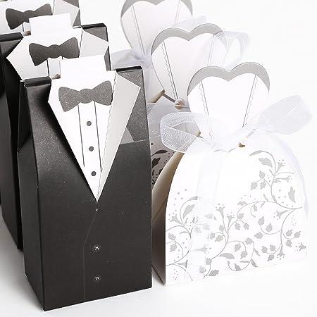 100pcs Cajas de boda para bombones caramelos chocolate Con forma Novio Novia Color Negro con Blanco