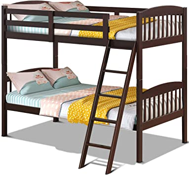 Amazon Com Costzon Twin Over Twin Bunk Beds Convertible Into Two Individual Solid Rubberwood Beds Children Twin Sleeping Bedroom Furniture W Ladder And Safety Rail For Kids Boys Girl Espresso Furniture Decor