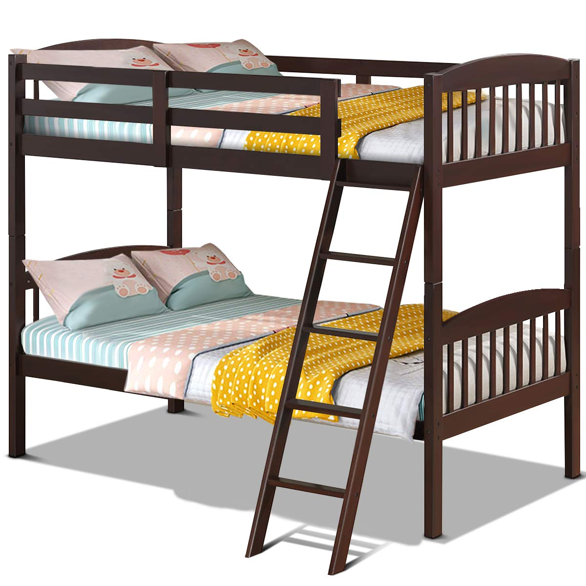 Costzon Twin Over Twin Bunk Beds, Convertible Into Two Individual Solid Wood Beds, Children Twin Sleeping Bedroom Furniture W/Ladder and Safety Rail for Kids Boys & Girls (Espresso)