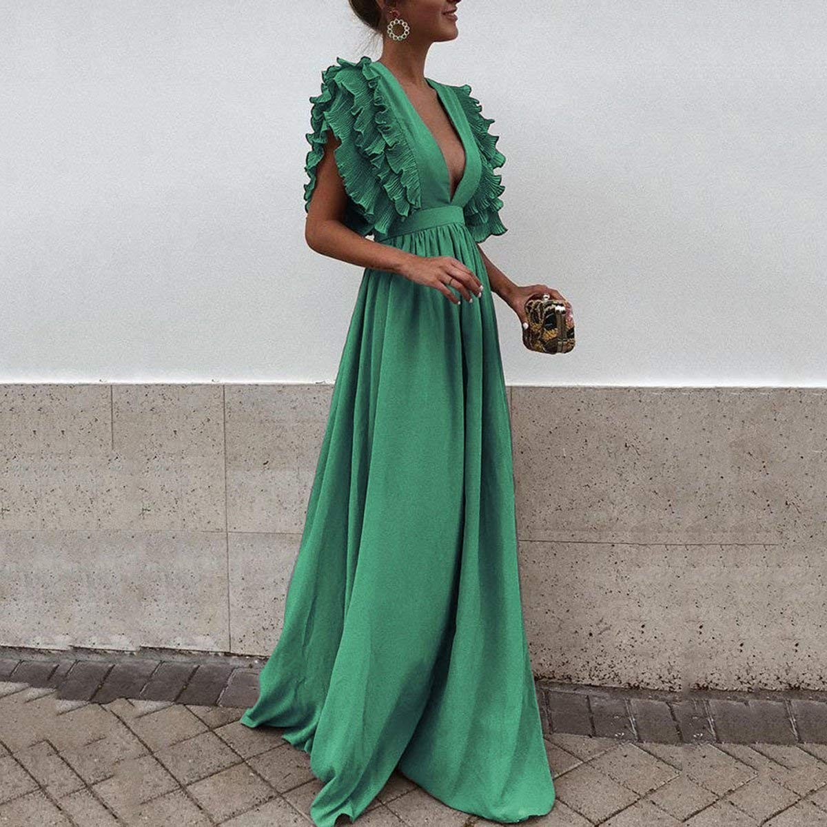 Women Sexy Maxi Dress Fashion Wedding Cocktail Party Vintage Fly Sleeve Backless Elegant Ball Gown Event (US:6, Green)