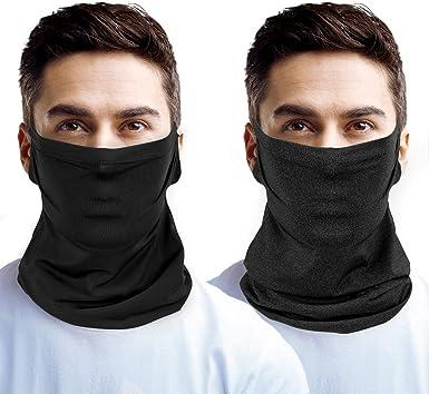 2Pack Face Cover Sunscreen Neck Gaiter Balaclava Neckerchief Bandana Headband
