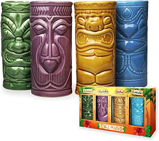 tazze hawaiane 01 bevande set di tazze in ceramica per cocktail Tazze Tiki Tiki Mugs bicchieri da cocktail Hawaii bicchieri da cocktail Tiki Bar Accessori Tiki
