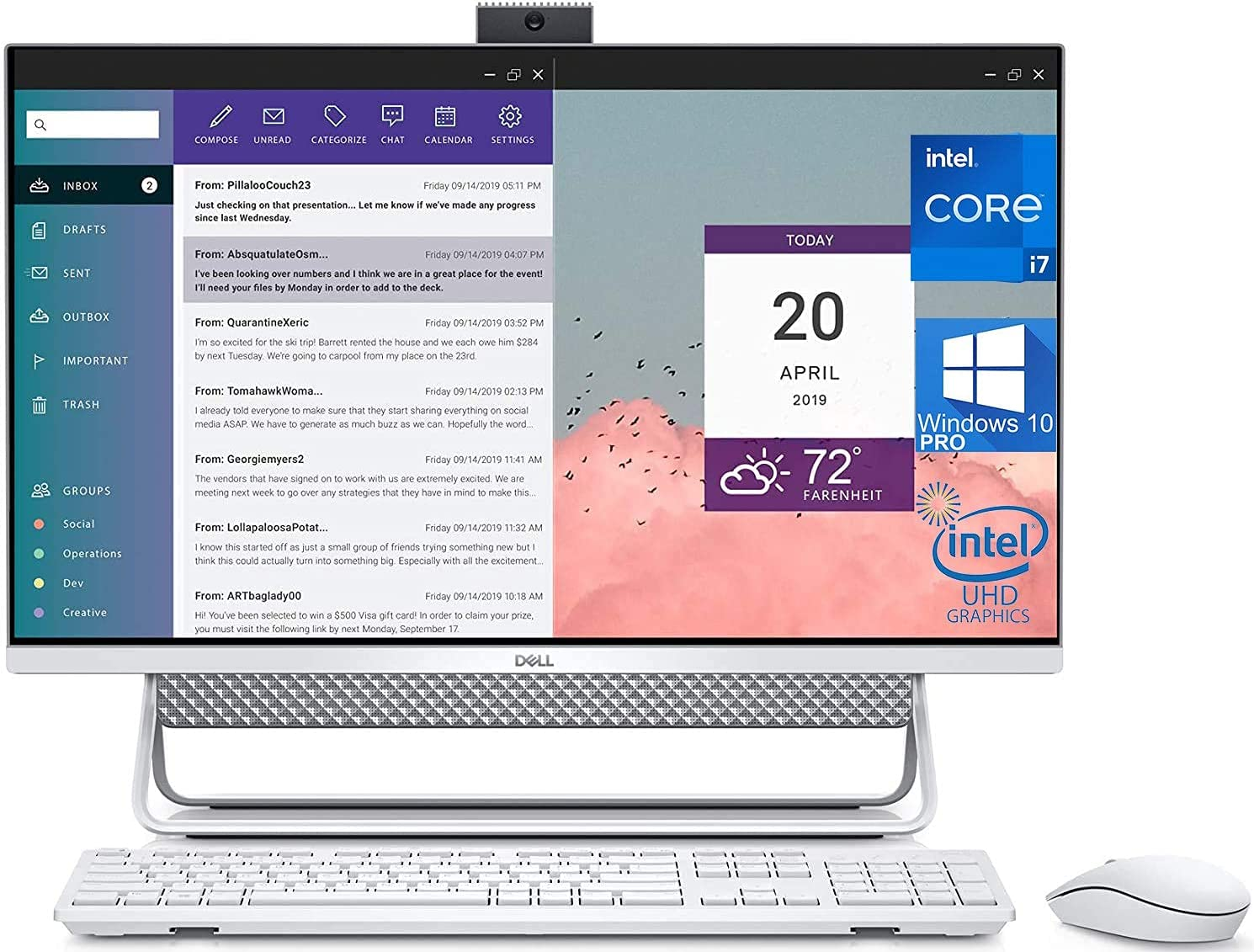 "Dell Inspiron 7700 All in One, 27"" FHD Touchscreen, Intel 11th Gen i7-1165G7, 16GB RAM, 2TB SSD, Webcam, Nvidia Geforce MX330 2GB Graphics, HDMI, SD-Card, USB Type-C - Windows 10 Pro (Renewed)"