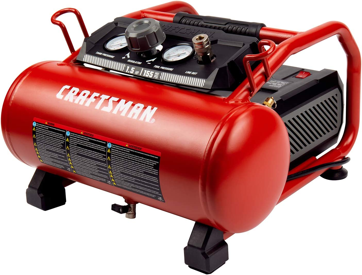Craftsman Air Compressor, 3 Gallon 1.5 HP Max 155 Psi Pressure Oil-Free Portable, Red- CMXECXA0200341