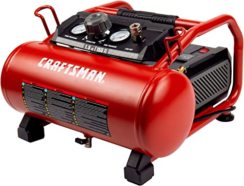 Craftsman Air Compressor, 3 Gallon 1.5 HP Max 155PSI Pressure Oil-Free Small Air Compressor Electric Air Compressor, Red- CMXECXA0200341