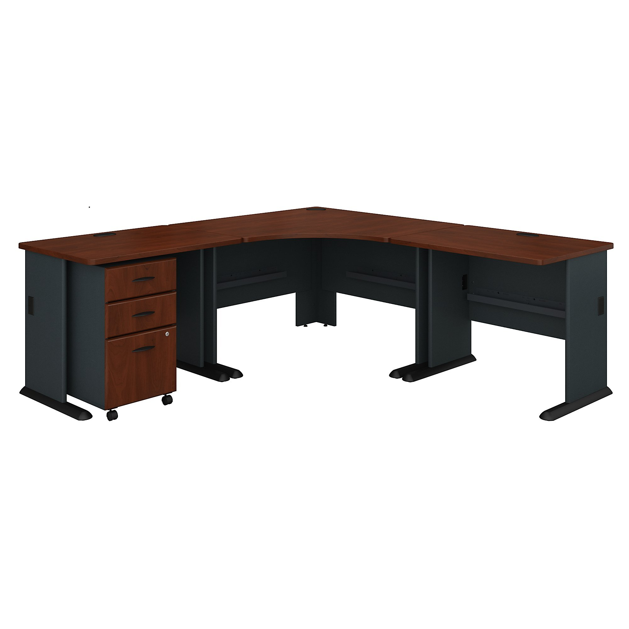 Bush Business Furniture Series A 84W x 84D Corner Desk with Mobile File Cabinet in Hansen Cherry and Galaxy