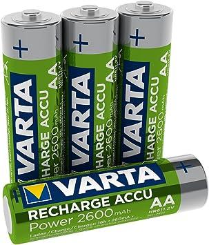 Varta ACCU Pack de 4 Pilas AA Recargables (NiMH, 2600 mAh ...