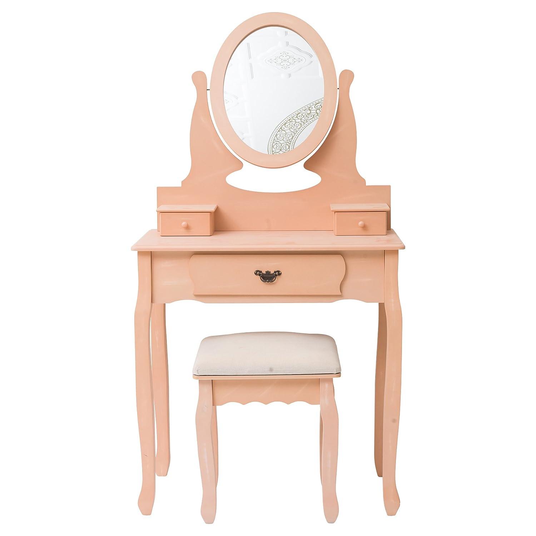 Mobili Rebecca® Table de Maquillage Coiffeuse Bois 3 Tiroirs Rose Design Romantique Salon Chambre a Coucher (Cod