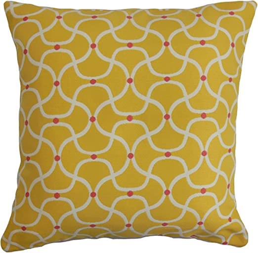 The Pillow Collection ONO Geometric Yellow Down Filled Throw Pillow