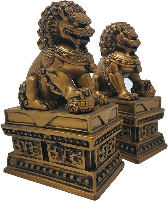 Feng Shui Wealth Porsperity Pair of Beijing Fu Foo Dogs Statues Ward Off Evil Energy,Feng Shui Decor