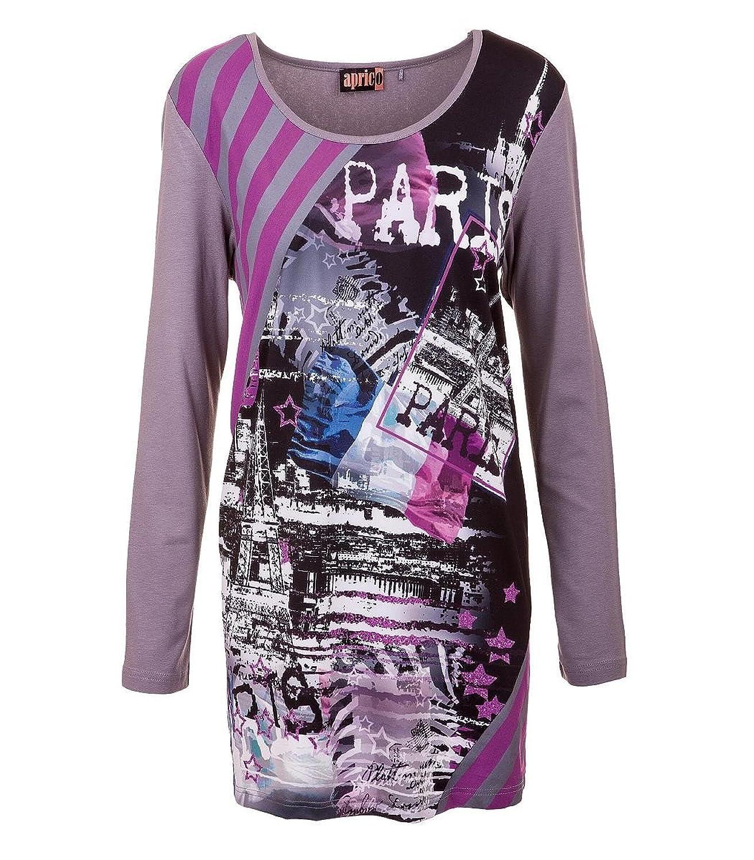 Aprico Mode Damen Shirt Langarm Viskose Grau Paris Druck Print 40 42 44 46 48
