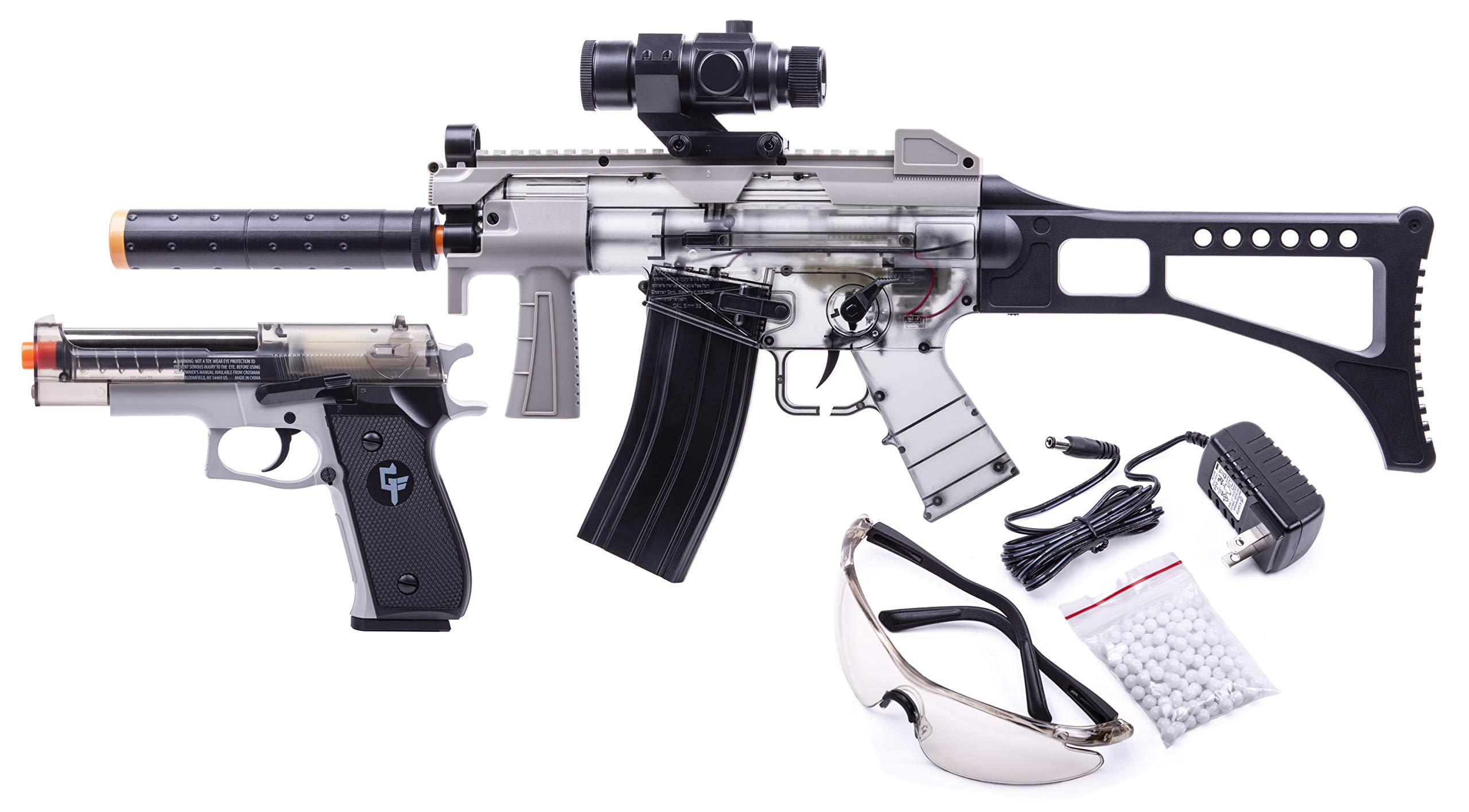 GAME FACE GFRPKTGS Ghost Affliction Full-Auto Airsoft BB Rifle And Spring-Powered Pistol Kit With Safety Glasses And BB's, (Grey/Smoke)
