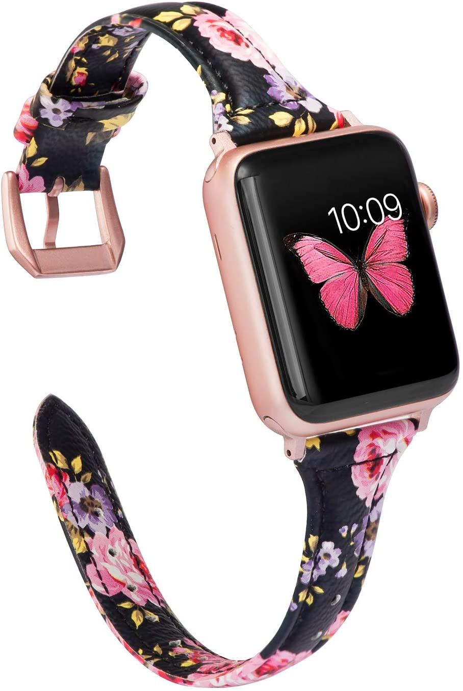 Wearlizer Thin Leather Black Pink Floral Compatible with Apple Watch Band 38mm 40mm for iWatch SE Womens Top Grain Leather Slim Strap, Female Flower Wristband (Rose Gold Clasp) Series 6 5 4 3 2 1
