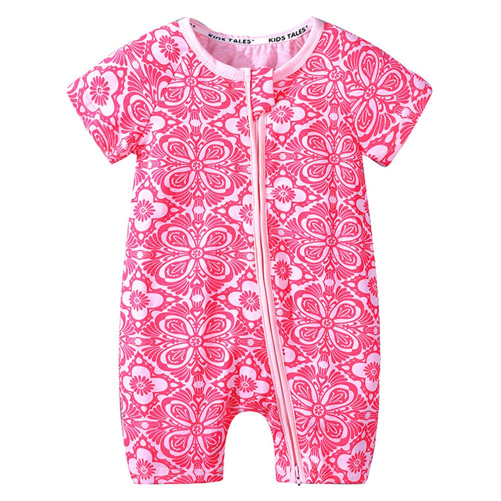 Toddler Baby Boys Girls Short Sleeve Summer One Piece Zipper Pajamas Romper 3 Months to 3 Years (Style 4-1604, for 12-24 Months) by Amberetech