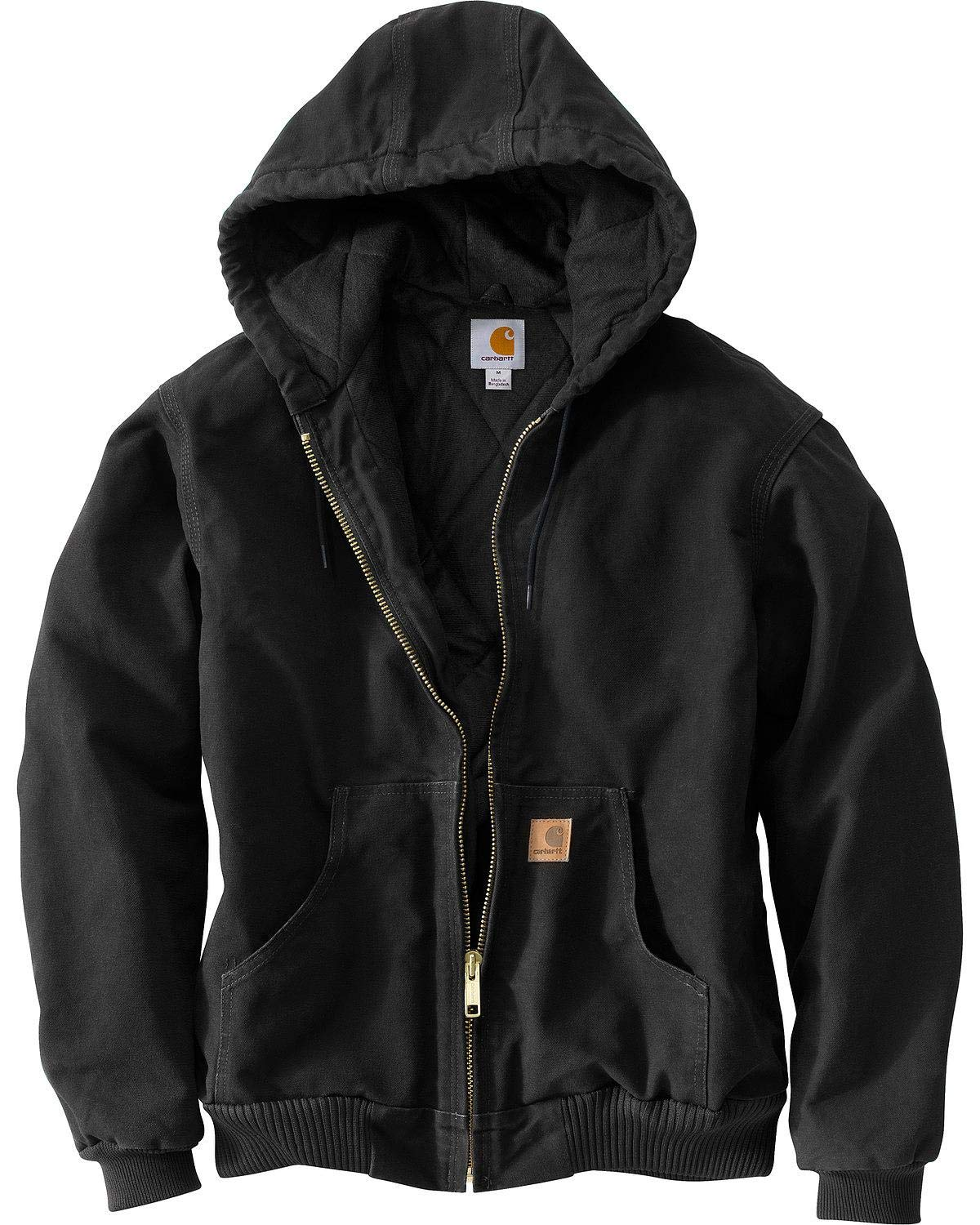 Carhartt Men's Big & Tall Quilted Flannel Lined Sandstone Active Jacket J130,Black,Large Tall by Carhartt