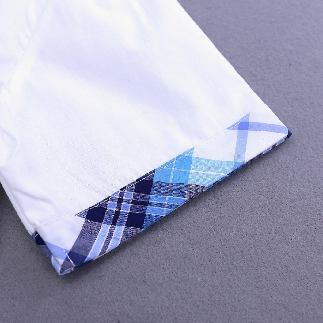 WARMSHOP Children Boys 2 PC Bowtie Short Sleeve Turndown Collar Shirt Tops+Plaid Print Pocket Pants Kids Formal Party Set