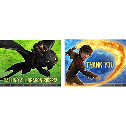 Amazon Com How To Train Your Dragon Invitation Thank You 8 Pack