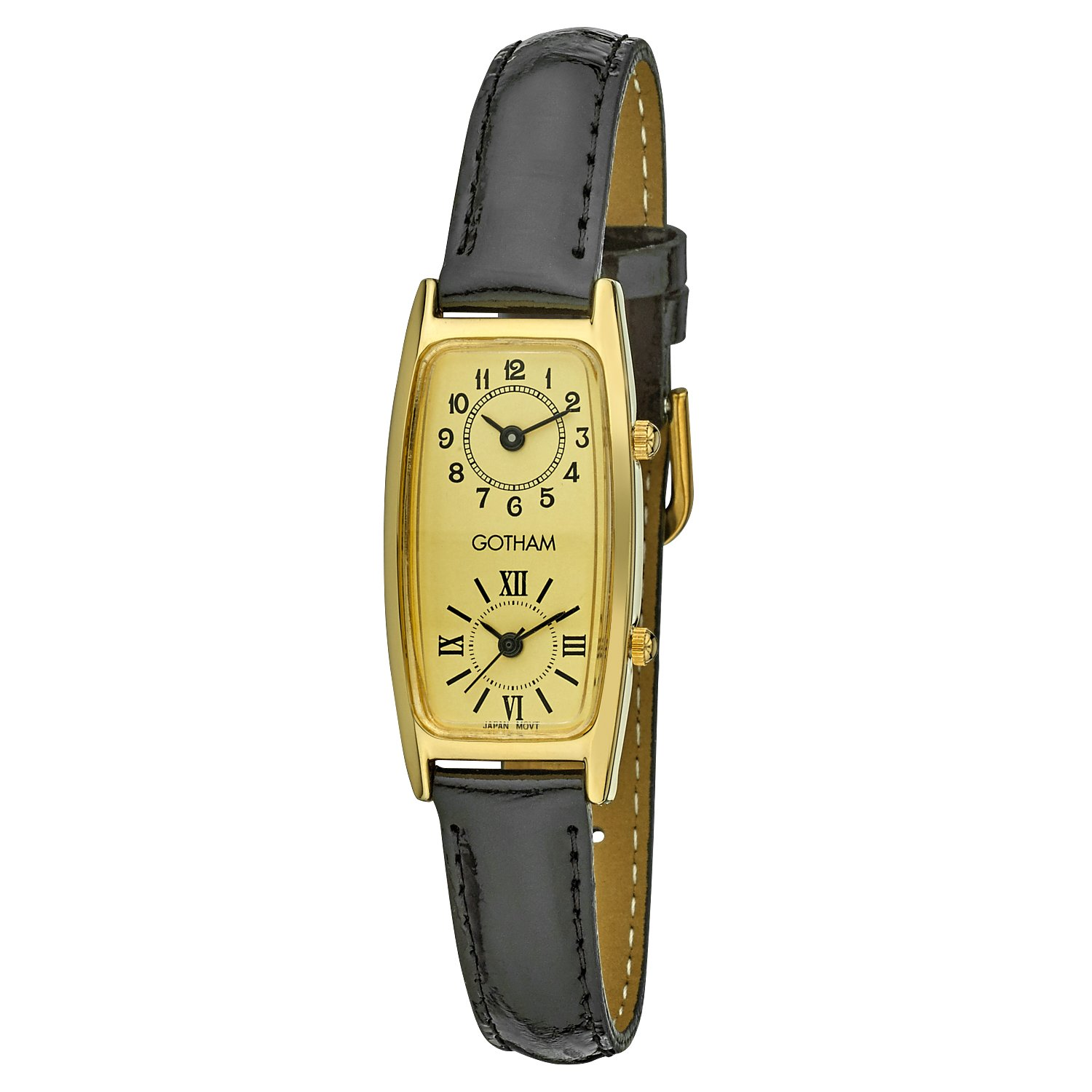 Gotham Women's Gold-Tone Dual Time Zone Leather Strap Watch # GWC15092GBK