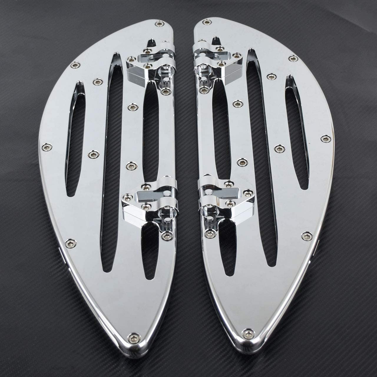 YHMTIVTU Motorcycle Front Floorboards Driver Stretched Floorboards Compatible with Harley Touring Softail Street Road Glide Dyna Chrome