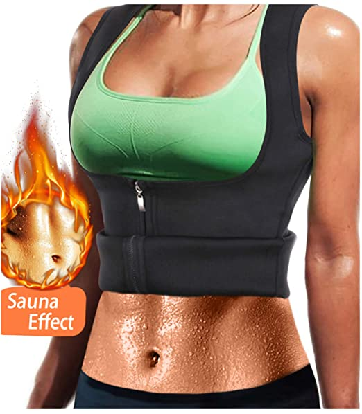 dd4777e2bd LODAY Women Neoprene Sauna Sweat Waist Trainer Vest with Zipper for Weight  Loss Gym Workout Body